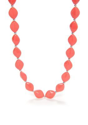 Kim Rogers  Coral Flat Oval Bead Necklace