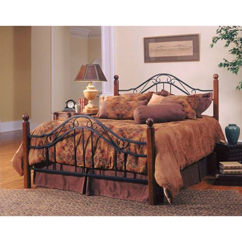 Sale Price: $449.00   King Bed Set Combination of wood and iron elements   Square solid wood posts   Black metal bed grills   #bedroomsets #kingsize #bedsets #bedding #furniture #wood #metalbedgrills