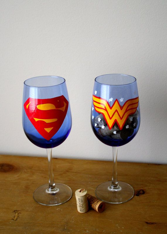 SUPERMAN and WONDER WOMAN- set of 2 wine glasses - hand painted on Etsy, $29.50
