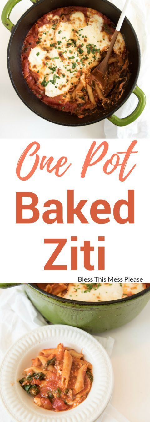 One Pot Baked Ziti ~ The best cheesy One Pot Baked Ziti recipe with sausage and spinach; everything, including the noodles are cooked in one pot and then finished in the oven.