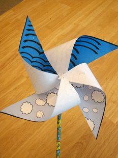 Windmolen Schepping (dag 2). Gratis uitprinten, eenvoudig te maken. //  Bible Crafts Creation Pinwheel. Free printable