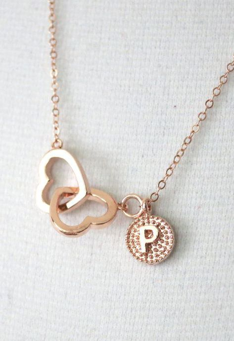 Personalized Rose Gold Double Heart Infinity all the sudden my favorite color is rose gold? (: