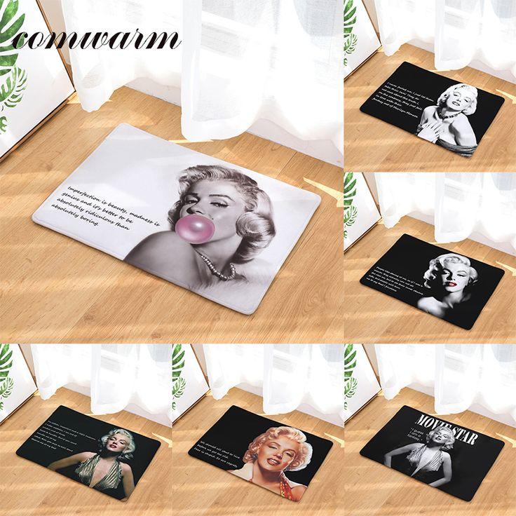 Comwarm Anti-Slip Entrance Door Mat Vintage Classic Creative Words Marilyn Monroe Pattern Mats Decoration Bedroom Foot Pads Rugs #Affiliate