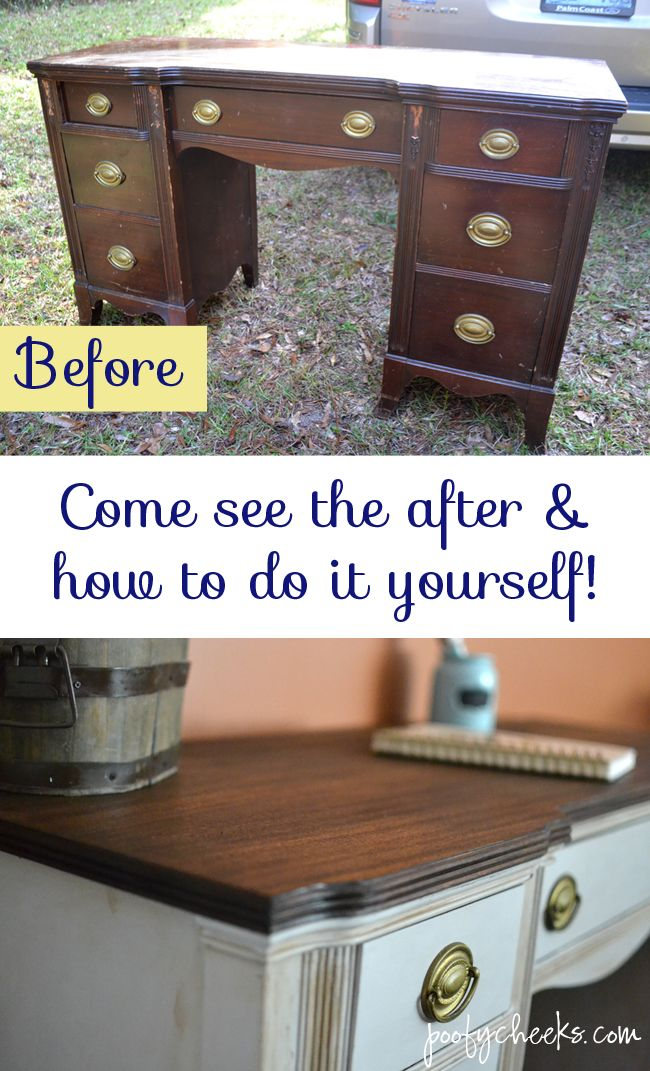 Two Toned Chalk Paint Vintage Desk Redo