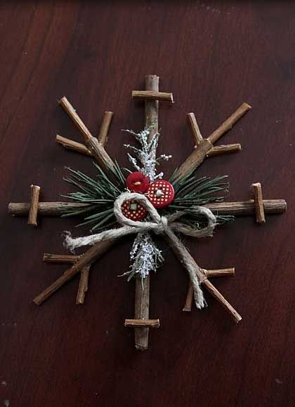 Easy DIY Christmas Crafts for Kids  - Rustic Snow Flakes - Click pic for 45 Budget Friendly Holiday Decor Ideas