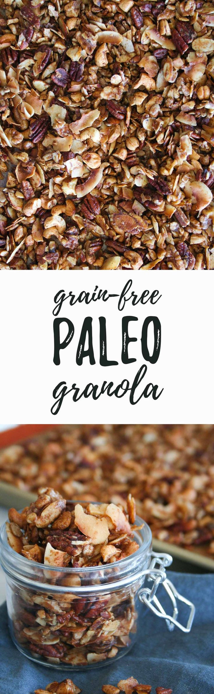 Grain Free Paleo Granola   recipe, healthy, coconut, simple, clean eating, maple syrup, gluten free, snack, breakfast   hungrybynature.com