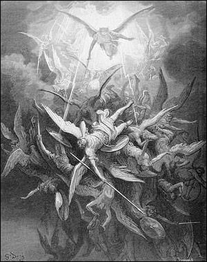 Gustave Dores fall of the rebel angels, from Book I of Paradise Lost