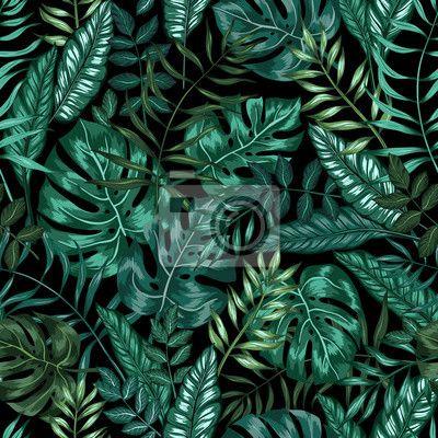 """Papier peint """"feuillet, fleurissant, papier peint - motif graphique transparent tropical nature jungle artistique, moderne feuillage élégant imprimer allover à la feuille fendue, philodendron, feuille de palmier, fougère frond"""" ✓ Un large choix de matériaux ✓ Impression écologique 100% ✓ Regardez des opinions de nos clients !"""