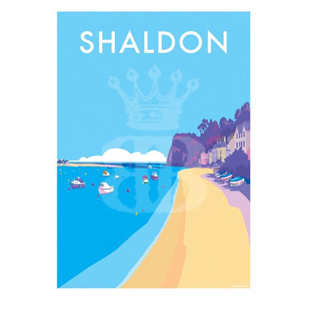 Vintage prints and posters available at www.beckybettesworth.co.uk #vintage #devonartist #seasideprints #travelposters #devon #shaldon #teignmouth #surfing #goldensands #riverteign