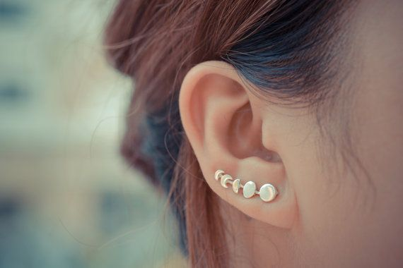 Moon Phases Sterling Silver Earring Pins/Cuffs by arajera on Etsy --- WANT!