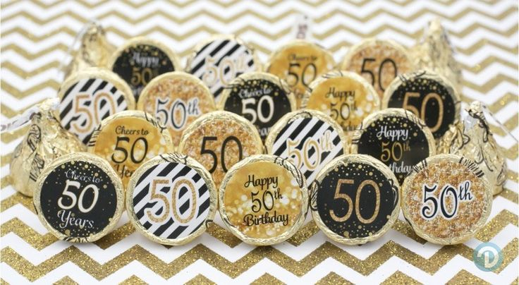50th Birthday Party Decorations - Gold & Black - Stickers for Hershey Kisses (Set of 324)