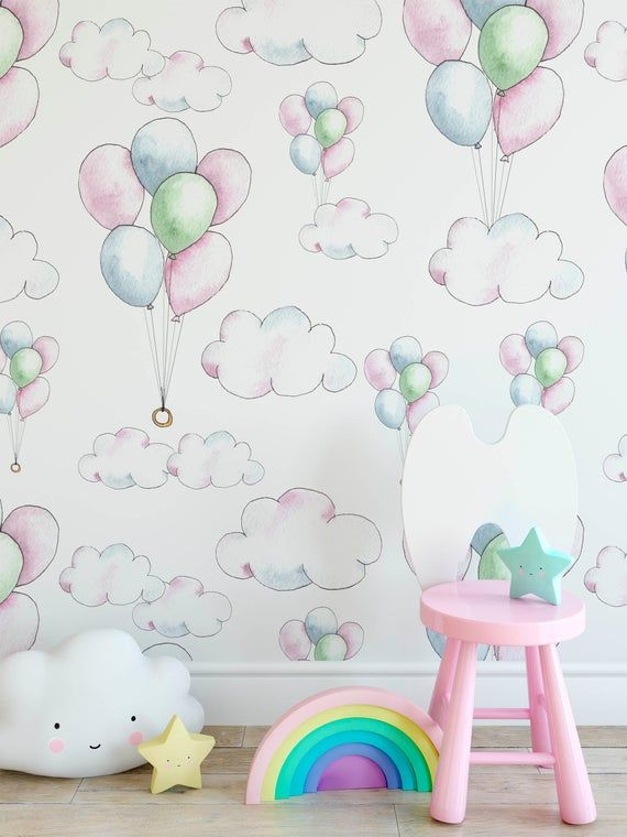 watercolor clouds and balloons wallpaper,hand drawing blue ...