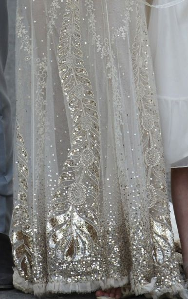 peacock sequined details - Kate Moss' wedding gown by john Galliano. Almost Edwardian/art Deco.