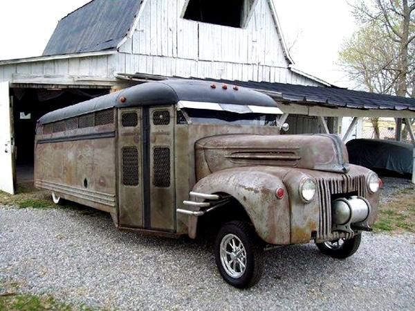 Rat Rod Bus- add in the RV amenities, it would be the greatest road trip ever