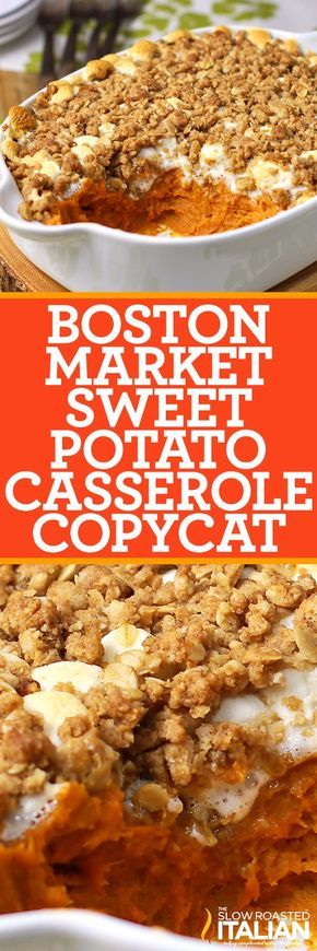 Best Ever Sweet Potato Casserole (Boston Market Copycat), is one for your recipe book! Rich sweet potatoes covered in marshmallow and brown sugar streusel topping are a side dish to remember.