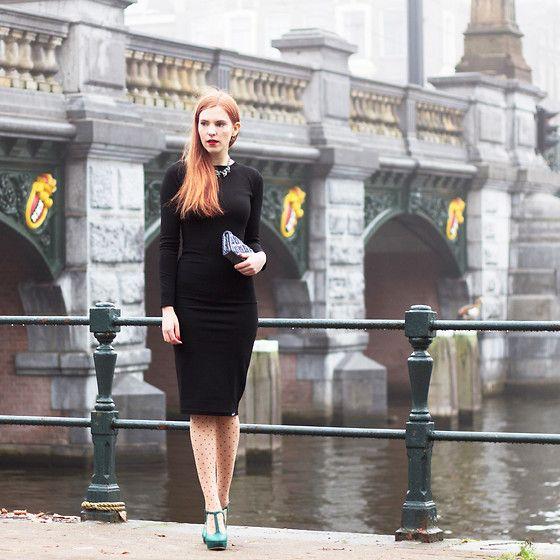 Get this look: http://lb.nu/look/8570719  More looks by Sonja Vogel: http://lb.nu/retrosonja  Items in this look:  Deal 75 Black Dress Long Sleeves Midi Length   #chic #elegant #retro #lbd #littleblackdress #midi #mididress #polkadots #tights