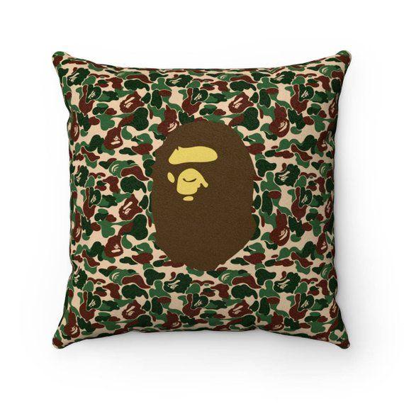 Faux Suede Bape Camo Square Pillow A Bathing Ape Inspired Pillows Square Pillow Throw Pillows