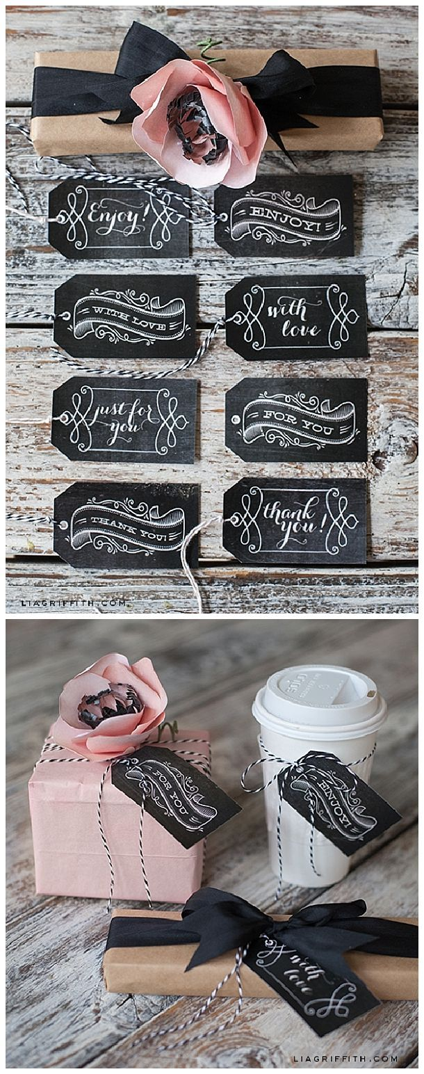 Download and print these delightful gift tags that you can use for the holidays or year round for any occasion. Aren't they pretty? Free Printable Vintage Chalkboard Gift Tags   Lia Griffith