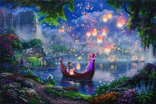 24x36 inch Tangled Printed Oil Painting on Canvas Disney Dream Princess Rapunzel
