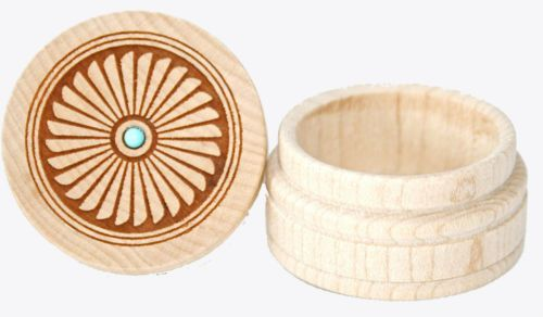 """Mimbres Anasazi Reproduction Mimbres Feathers Small Maple Box withTurquoise accent stone 1"""" H x 1.5"""" W Dream Box are turned from Select New England Maple, hand finished, then laser carved and inlaid w"""