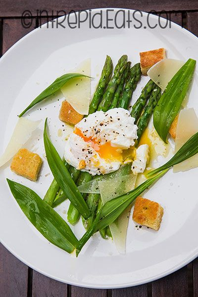 Wild garlic, asparagus and poached egg salad. #intrepideats #wildgarlic