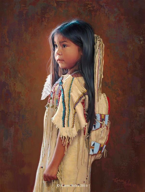 """Little Dove"" 16"" X 12"" Oil on Linen -Karen Noles Karen Noles - Available new original painings - New Western and Native American Fine Art by Karen NolesCall (406) 883-2920 for information and pricing."