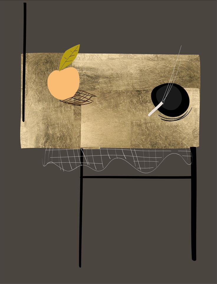 Peach and Cigarette. Peter bainbridge. Silscreened on handmade French cotton paper. With 24ct gold leaf.
