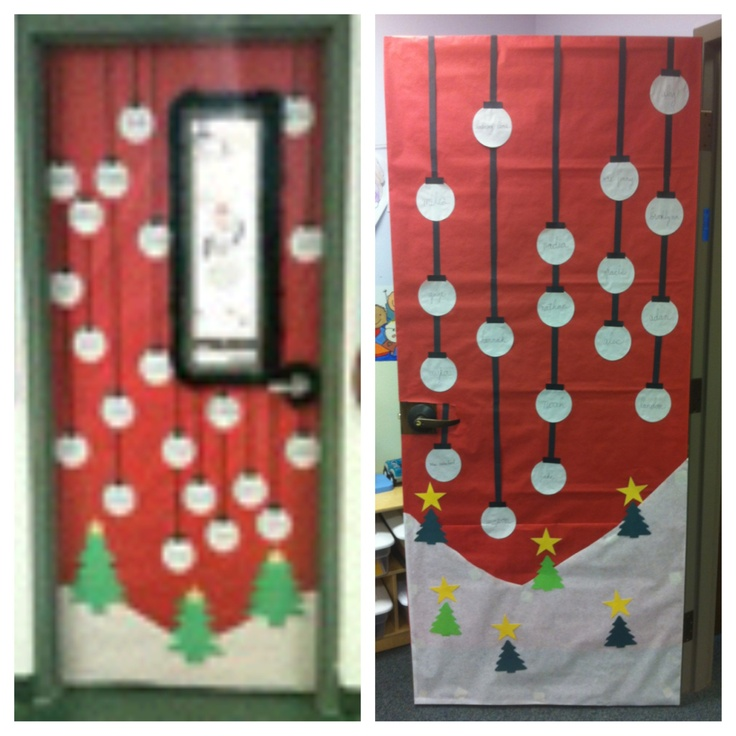 The pic on the Left is the Xmas Door Decor I found on Google, and the pic in the Right is My attempt for my preschool class.