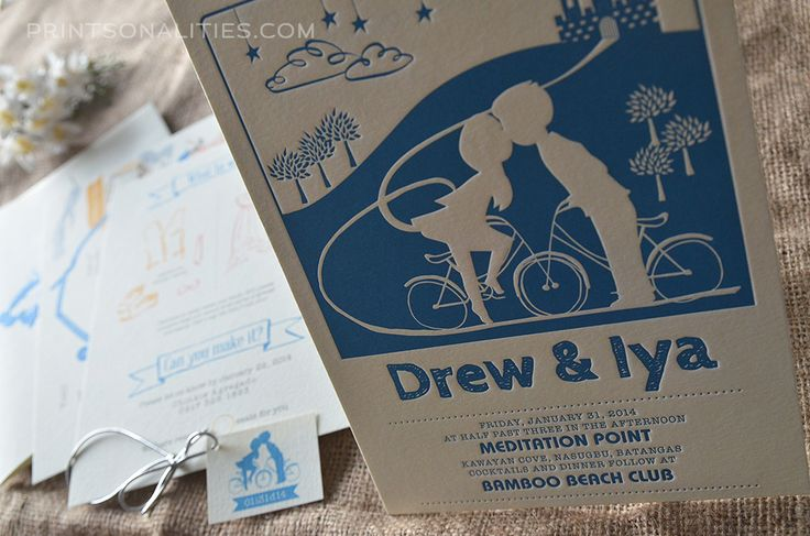 Ready To Print Wedding Invitations: Drew & Iya Wedding Invitation