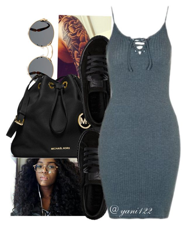 """""""untitled #201"""" by yani122 ❤ liked on Polyvore featuring Prada, MICHAEL Michael Kors, Puma and Topshop"""