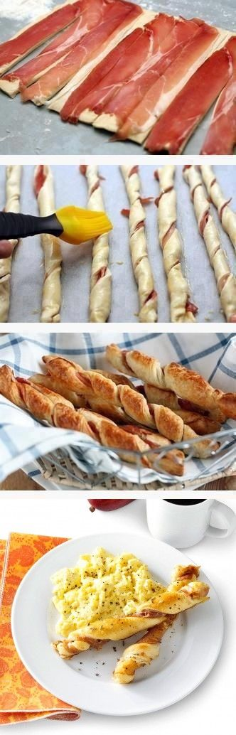 6 thin slices Prosciutto or deli ham. 1 Egg, large. 1/4 tsp Fennel seed. 1/4 tsp Pepper. 1 tube Breadsticks, refrigerated.