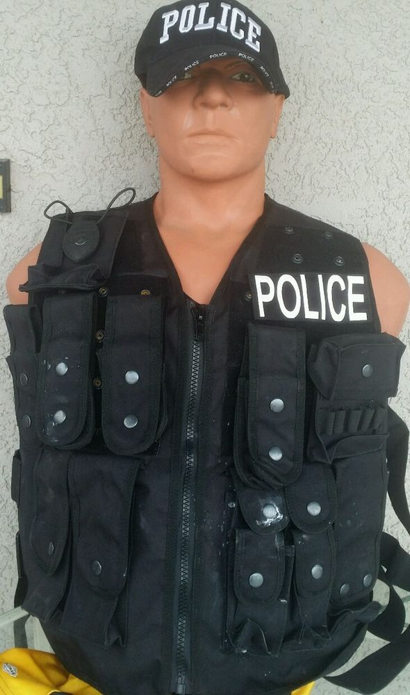 POLICE Tactical Vest, Nylon, X-Large, X-Long, Police Patches, No BP Plates #Unbranded