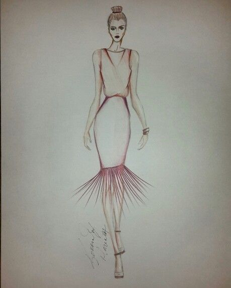 Fashion sketch loose top and fringe skirt by circadots