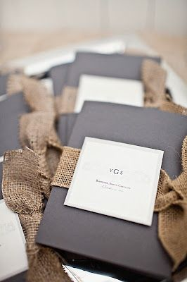 black, white + burlap - me in a nutshell. If I was an invitation... With a suggestion of pink on the inside