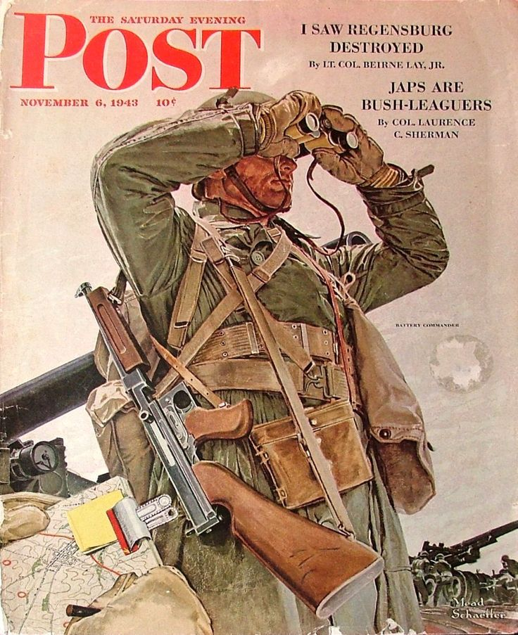 The cover of The Saturday Evening Post, by Mead Schaeffer (November 6, 1943). Note the M1A1 Thompson submachine gun.