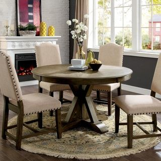 Shop For Furniture Of America Cooper Rustic Light Oak Round 54 Inch Pedestal Dining Table Get Free Shipping At Overstock