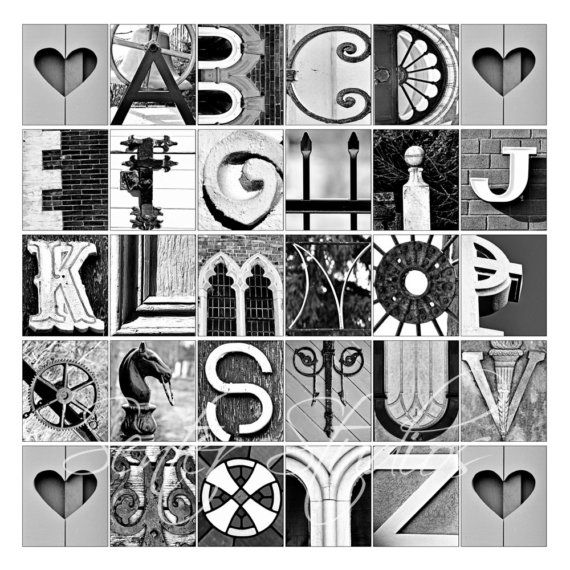 alphabet print abcs photo letter art from architectural details 12x12
