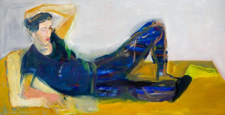 Leena Luostarinen: Makaava malli, 1980, öljy, 83x158 cm - Hagelstam K133