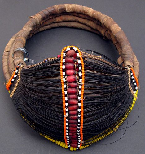 Africa | An old traditional necklace made from Giraffe tail hair, Doum palm fibre, cloth binding and trade beads including red glass white heart beads. Most commonly worn by the Rendille people, Kenya. | © Ann Porteus, Sidewalk Tribal Gallery