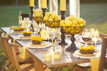 Vineyard Wedding at Osprey Dominion designed by Karyn Michael Events, photo by Millimeter Photography. #sunflowers #lemons #vineyardwedding #karynmichaelevents #chaircover #yellowwedding #outdoorwedding