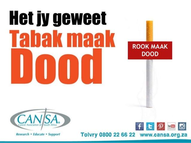 CANSA 2015 Kick Butt Geen Tabak by CANSA The Cancer Association of South Africa via slideshare