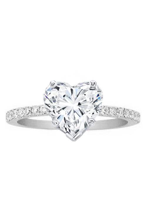 Heart Shape Diamond Engagement Ring Pave Band