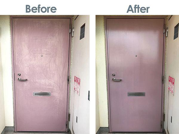 賃貸マンションの玄関ドアを塗り替えたらまるで新品みたいに 玄関