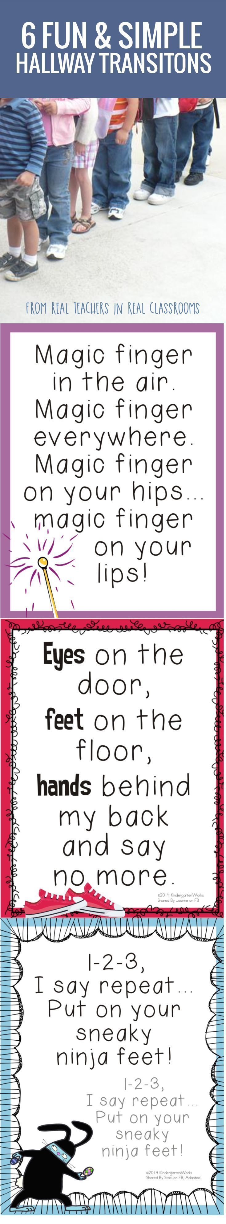 6 Fun and Simple Hallways Transitions for Kindergarten - free to print. Nice!