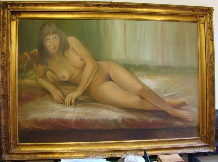 GRANDE Dipinto olio su tela NUDO donna nuda sdraiata 174 x 127 CM certificato