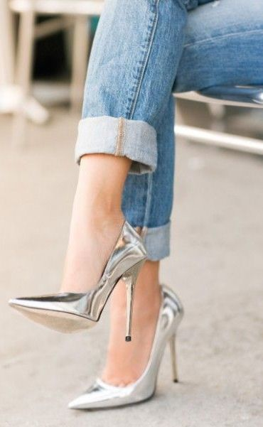 Denim & Metallic Pumps ♥  I maybe 56 and have only one leg but the woman inside of me did somersaults when I saw this!