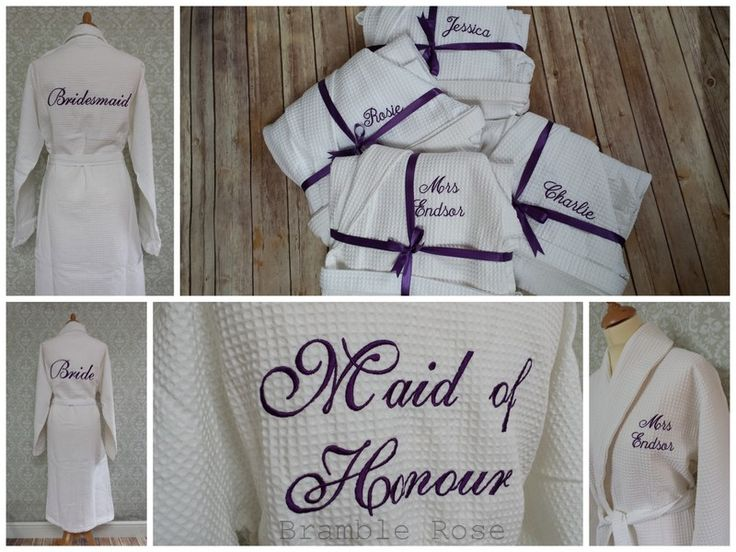 Personalised bridal part dressing gowns, Bride, Bridesmaid Maid of Honour etc, waffle and terry towelling robes available http://www.bramble-rose.co.uk/ourshop/cat_737234-Towelling.html