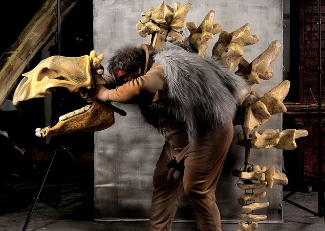 Wow, awesome dinosaur skeleton costume.