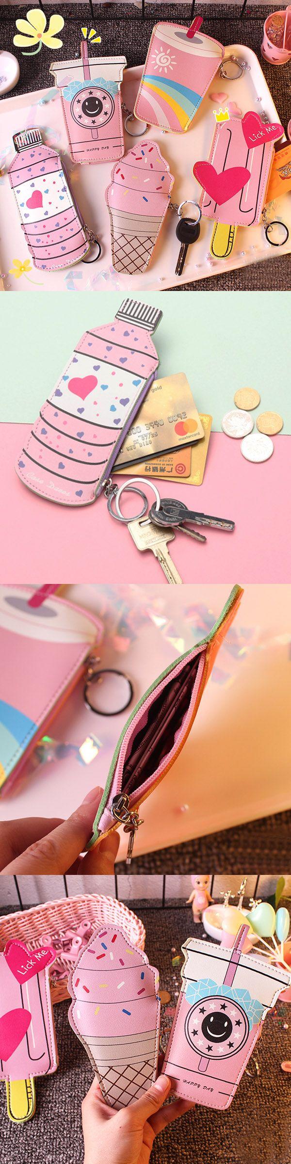 【 2 / US$11.50】Girls Cute Ice Cream Shape Coin Bag Milk Tea Key Bag Card Bags #CuteCoinwallets #PinkWallets  #CoinBags #KeyBags
