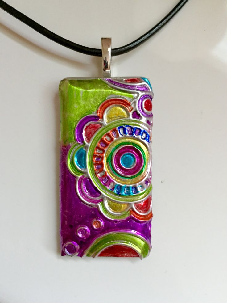 """1 x 2 in. Alcohol Ink Embossed Foil """"Flower Bright"""" Glass Tile Necklace by CraftyColettes on Etsy"""